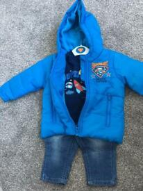 3-6 baby super baby coat jeans and top