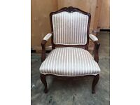 CARVED MAHOGANY FRENCH LOUIS ORNATE UPHOLSTERED ARM CHAIR DESK BEDROOM