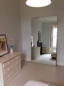 RESERVED Huge antique mirror - FREE to collect - large wall-leaning frameless vintage mirror