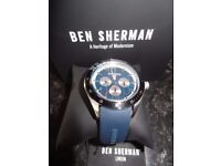Ben Sherman Men's Quartz Watch with Blue Dial Analogue Display and Blue Silicone Strap WB011U/New