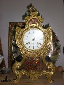 SUPERB 19thC BOULLE FRENCH brass and mother of pearl CLOCK