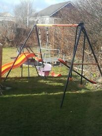 Slide,swing set and 8ft trampoline with enclosure