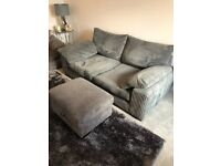 Sofa, chair and footstool - dark grey jumbo cord. Great condition. Pick up only please