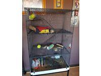 Wire chinchilla or hamster cage.