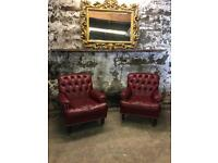 Pair of Leather Chesterfield Chairs