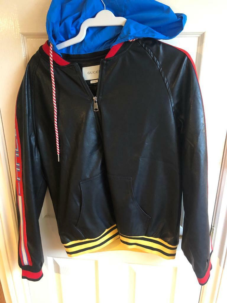 3d280b4ecd44 Gucci leather bomber jacket rare detachable hoodie