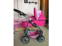 2 in 1 doll's pram and stroller