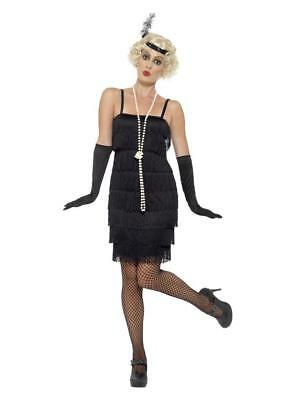 WOMEN'S FLAPPER, GREAT GATSBY COSTUME, BLACK  SHORT DRESS, HEADBAND & GLOVES. (Great Costumes For Women)
