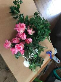 Job lot of artificial flowers and ivory