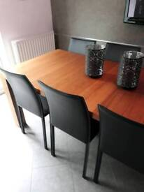 ****SOLD**** 4x Black Leather Bonded Chairs from BoConcept.