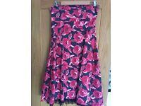 WHISTLES black/red flower strapless dress, size 14