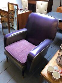 Very rare Vintage 1950's Cocktail Chair in Space Silver & Purple, Dansette Legs. Vintage Beauty !