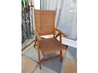 Eucalytus Solid Wood Outdoor Garden Multi-Position Reclining Chair