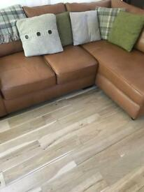 Next Michigan Tan Leather Corner Sofa