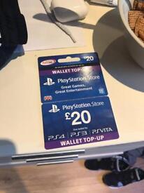 Unused £20 PS4 store card