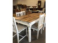 ** HEAVY SOLID WOOD DINING TABLE & CHAIRS - CAN DELIVER **