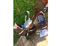 iCandy Peach travel system with carry cot, foot muff and rain cover