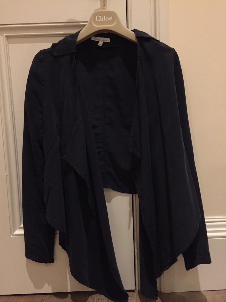 Asymmetric dark blue silk jacket Les Petites Paris