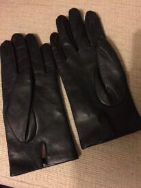 Men's black leather gloves, cashmere lined