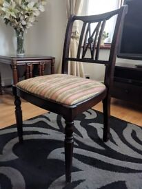 Eight (8) Rosewood Chairs with Regency Stripes