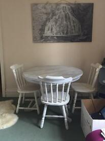Shabby chic farmhouse style table and chairs