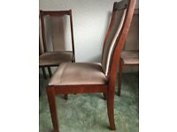 4 Dining Table chairs, wooden frame with faux velvet seat and back.