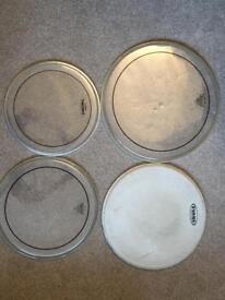 Drum skins: Remo, Evans and Yamaha