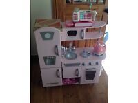Girls pink kidicraft wooden vintage kitchen