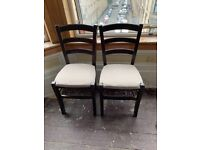 4 x Newly upholstered solid wooden chairs