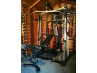 Nautilus professional smith machine with pulley, pec deck, bench
