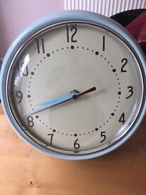Retro duck egg blue clock