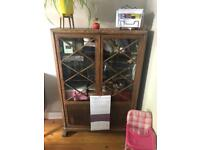Antique Glass fronted locking cupboard.