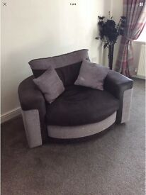 Beautiful corner Sofa and matching swivel love chair