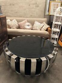 Art Deco Round Mirrored & Black Glass Table