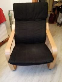 IKEA black material armchair in good condition
