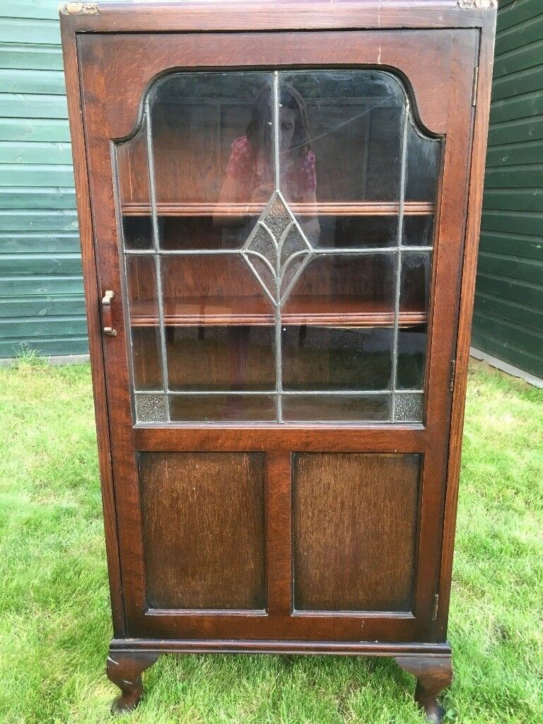 Vintage Glass Door Wooden Display Cabinet In North West London