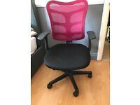 As new black with red mesh back rest comfy pump action office or bedroom chair