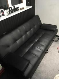 BLACK LEATHER SOFA BED. OPEN TO OFFERS