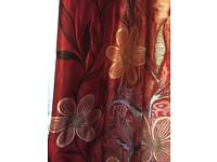 Extra long lined red and gold curtains