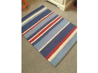 Laura Ashley stripe rug - blue, red and white
