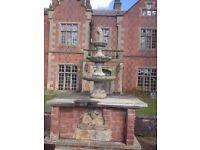 Fine Vintage Old French Style Stone Round Acanthus Cherub 3 Tier Garden Fountain