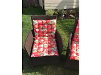 Pair of Brown Garden Chairs with seat pads