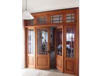 Pair of hardwood glazed french doors.
