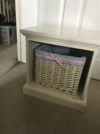 Storage Seat Bench Hall Stool Footstool Side Table Basket White Shabby Chic