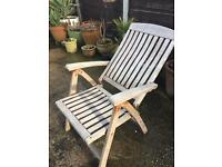4 solid grade a Teak fully reclining chairs