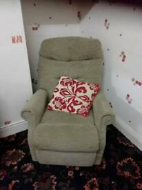 Green fabric recliner chair