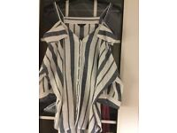 Ladies Casual River island Size 14 Grey/White stripe top