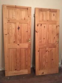Solid Wood internal doors unpainted with handles and hinges. Bargain