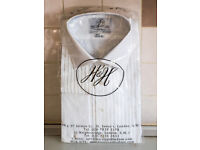 Harvie & Hudson Two Fold Cotton White Pleated Dual Front Dress Shirt brand new