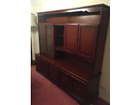 Beautiful Solid Mahogany Wood Display Cabinet - with lighting, glass shelves